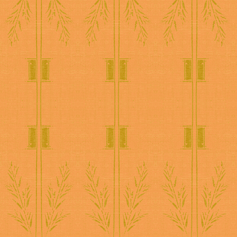 Deco wheat stripe -  orange and green fabric by materialsgirl on Spoonflower - custom fabric