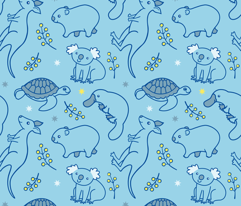 Adorable Aussie Critters - Blue fabric by zoel on Spoonflower - custom fabric