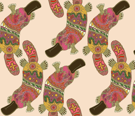 duck-billed platypus (linen) fabric by scrummy on Spoonflower - custom fabric
