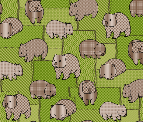 Wombat wisdom - faux patchwork fabric by victorialasher on Spoonflower - custom fabric