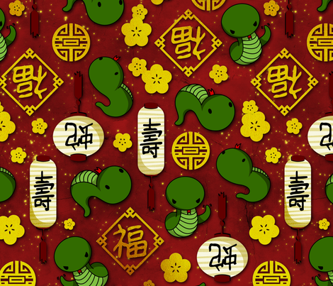 Year of the Snake fabric by shoriameshiko on Spoonflower - custom fabric