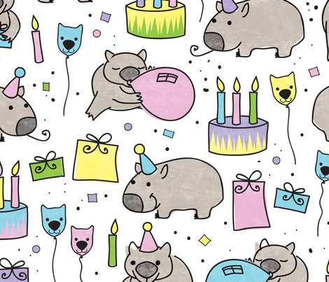 Happy Birthday Wombat! fabric by jennartdesigns on Spoonflower - custom fabric