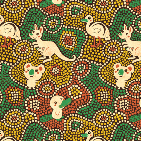 Australia Animals | green fabric by irrimiri on Spoonflower - custom fabric