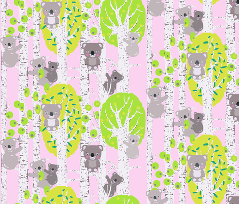 koala_trees_pink fabric by katarina on Spoonflower - custom fabric