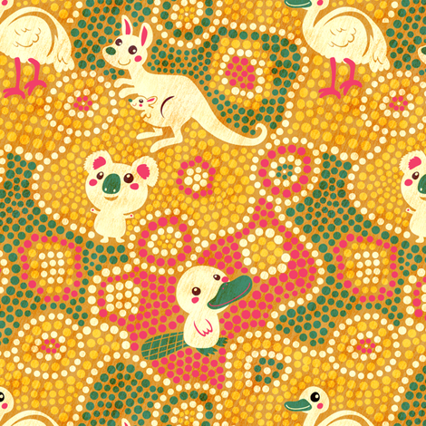 Australia Animals | yellow fabric by irrimiri on Spoonflower - custom fabric