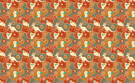 Australia Animals | red fabric by irrimiri on Spoonflower - custom fabric