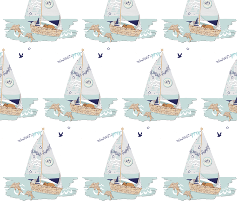 RJ's Puppy Sailboat half-brick repeat fabric by karenharveycox on Spoonflower - custom fabric