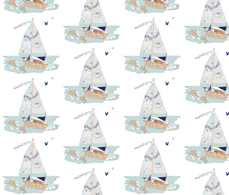 RJ's Puppy Sailboat half-drop repeat fabric by karenharveycox on Spoonflower - custom fabric