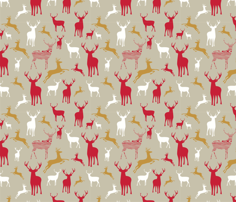 Wood Reindeer fabric by pochette|paper&textile on Spoonflower - custom fabric