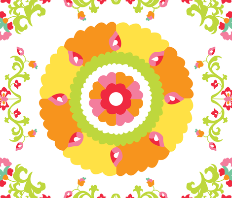 Oh Suzani Citrus Large Medallion fabric by heather_b_design on Spoonflower - custom fabric