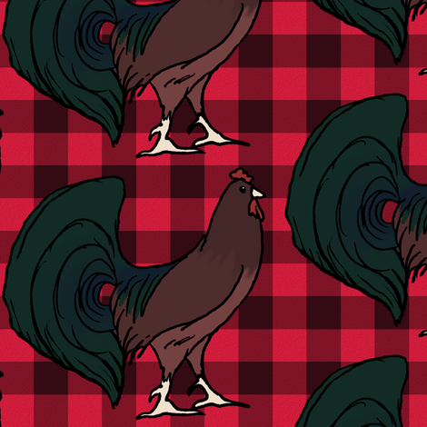 Rooster on Red Plaid
