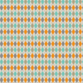 Orange Aqua and Warm Grey Argyle