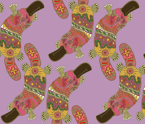 duck-billed platypus (violet) fabric by scrummy on Spoonflower - custom fabric