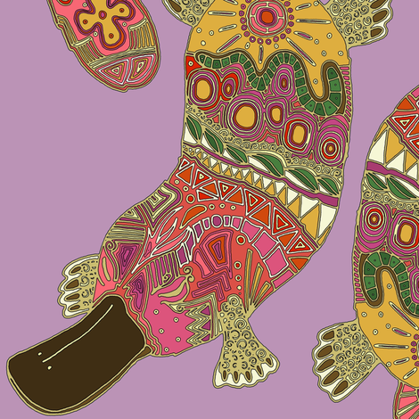 duck-billed platypus violet fabric by scrummy on Spoonflower - custom fabric