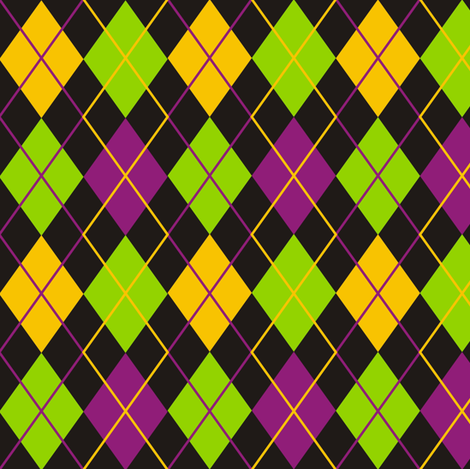 Mardi Gras Fat Tuesday Black Argyle fabric by smuk on Spoonflower - custom fabric