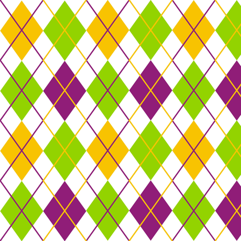 Mardi Gras Fat Tuesday White Argyle fabric by smuk on Spoonflower - custom fabric