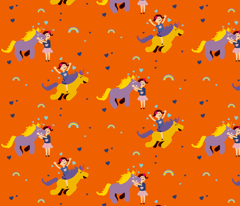 Girl_and_unicorn_Orange fabric by a_belle_design on Spoonflower - custom fabric