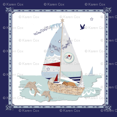 RJ's Puppy Sailboats on boat blue