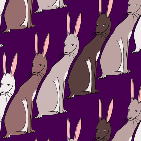 Rabbits fabric by pond_ripple on Spoonflower - custom fabric