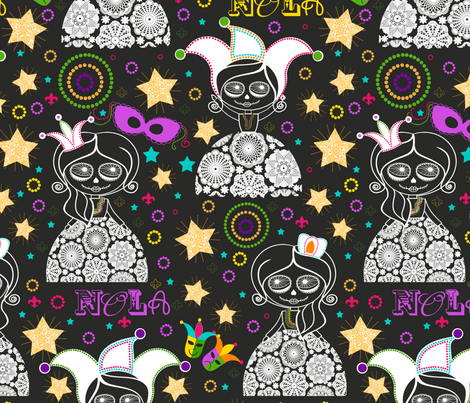 NOLA {Black} fabric by natitys on Spoonflower - custom fabric