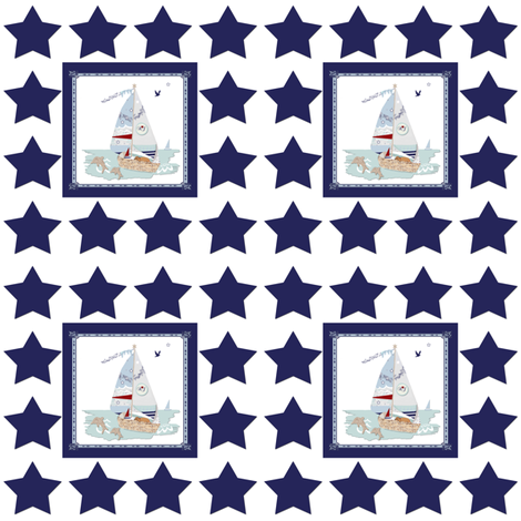 Rj's Puppy Sailboats with navy and white stars fabric by karenharveycox on Spoonflower - custom fabric