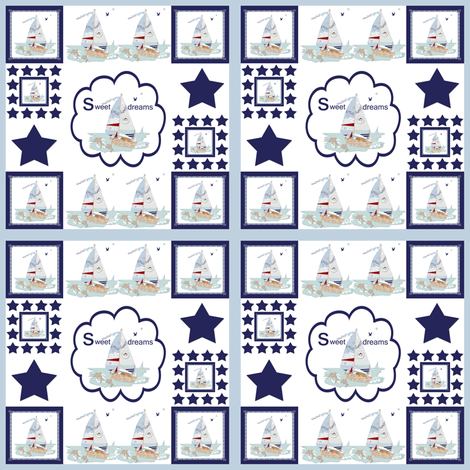 Sweet Dreams Quilt on Powder Blue fabric by karenharveycox on Spoonflower - custom fabric