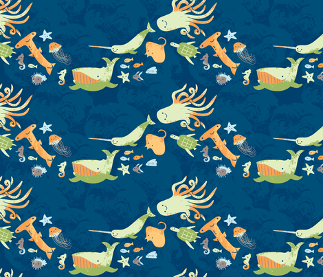Under the Water - big fish deep blue fabric by penguinandfish on Spoonflower - custom fabric