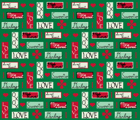 love_letter_yard_colored_hearts_green fabric by khowardquilts on Spoonflower - custom fabric
