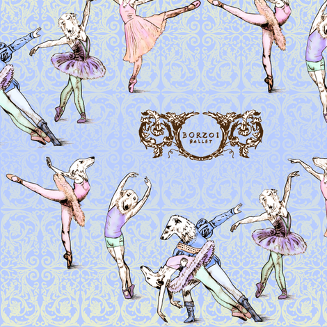 The Borzoi Ballet fabric by jenithea on Spoonflower - custom fabric