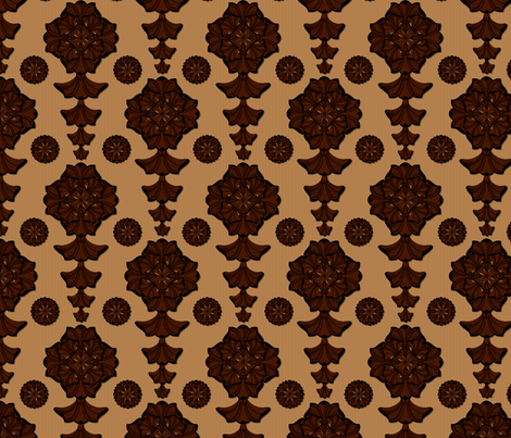 glorius_damask_chocolate_caramel fabric by glimmericks on Spoonflower - custom fabric