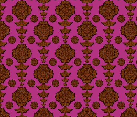 glorius_damask_chocolate_raspberry fabric by glimmericks on Spoonflower - custom fabric