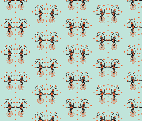 Circus Monkeys coral & turquoise (bigger version) fabric by silverfishcircus on Spoonflower - custom fabric