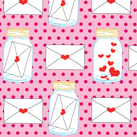 Love Letters Pink fabric by curious_nook on Spoonflower - custom fabric