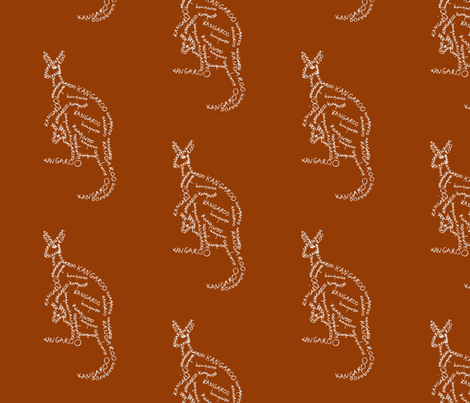 kangaroo calligram 2 fabric by blue_jacaranda on Spoonflower - custom fabric