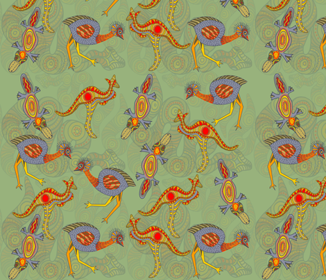 Zen Dreaming, green fabric by wiccked on Spoonflower - custom fabric