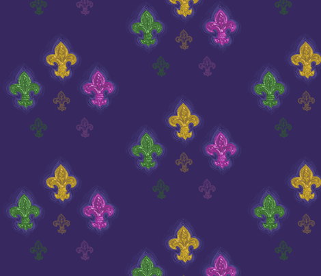 Fleur Aglow {3 colors on purple} fabric by luisapizza on Spoonflower - custom fabric