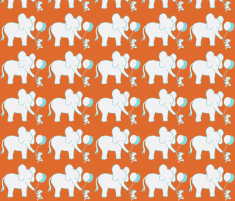 LARGE SCALE Lets Be Friends in Orange and Aqua fabric by kbexquisites on Spoonflower - custom fabric