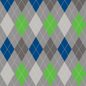 Navy Grey and Spring Green Argyle