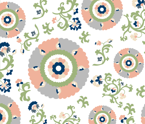 Oh Suzani Neutral Large- Scale Print fabric by heather_b_design on Spoonflower - custom fabric
