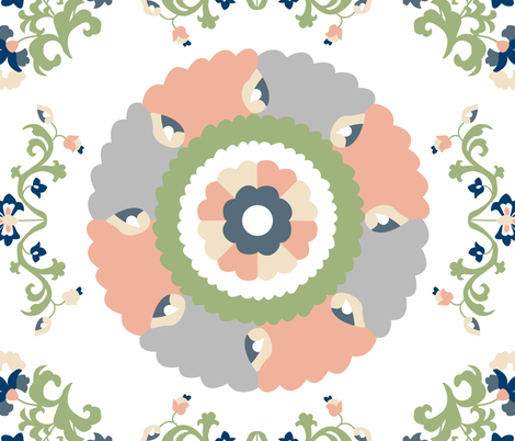 Oh Suzani Neutral Large Medallion fabric by heather_b_design on Spoonflower - custom fabric