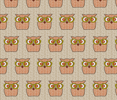 Retro Flora Owl fabric by pink_koala_design on Spoonflower - custom fabric