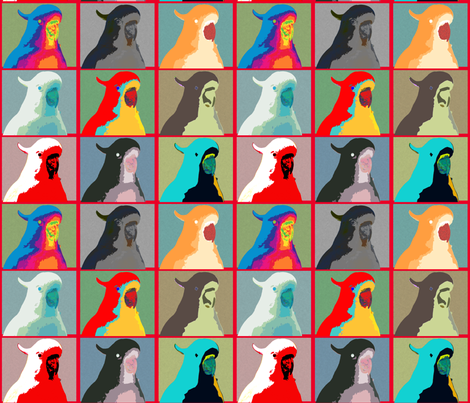 AW Cockies, blue, on red fabric by su_g on Spoonflower - custom fabric