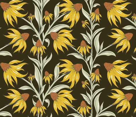 Black Eyed Susan fabric by corinnafieldofflowers on Spoonflower - custom fabric
