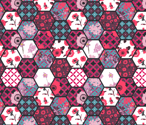 hexies pattern anemones collection fabric by katarina on Spoonflower - custom fabric