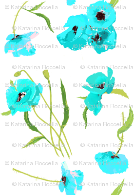 poppies fresh aqua and white