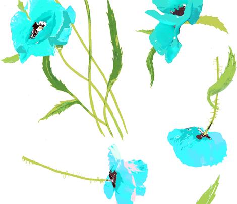 poppies fresh aqua and white fabric by katarina on Spoonflower - custom fabric