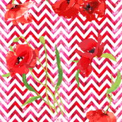 red watercolor chevron and poppies smaller scale
