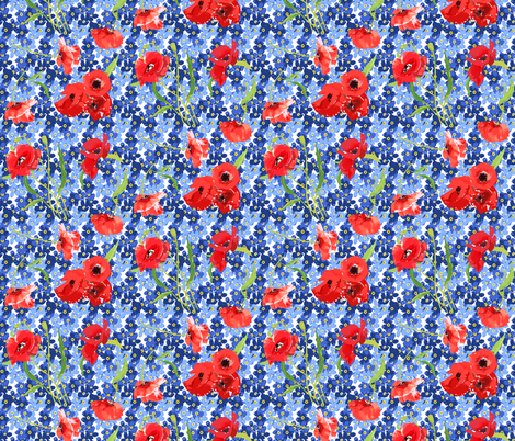 poppies and forget me not bouqet flowers fabric by katarina on Spoonflower - custom fabric