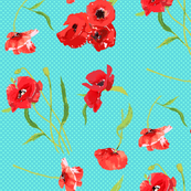 poppies on aqua dots