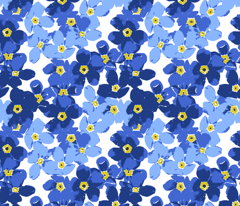 Wallpaper Forget me Forget me Not Flowers Fabric